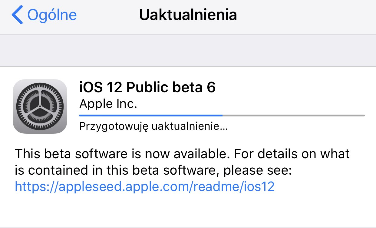 iOS 12 Beta 8 (public beta 6) dostępna do pobrania