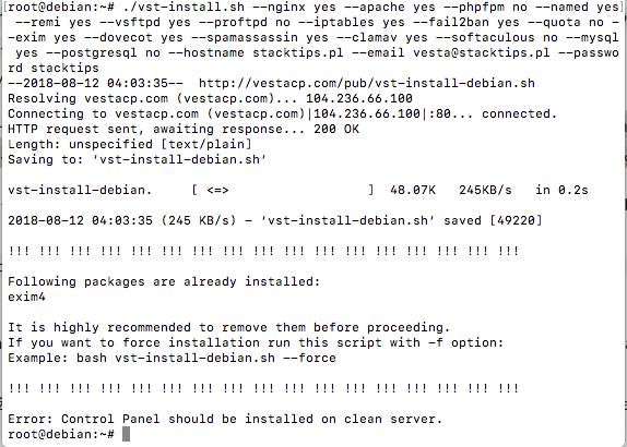 Rozpoczęcie instalacji skryptu